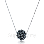 Kelvin Gems Glam Small Black Diva Ball Pendant Necklace