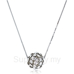 Kelvin Gems Glam Small Silver Diva Ball Pendant Necklace