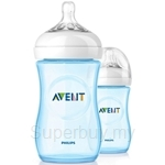 Philips Avent Natural Blue Bottle 9oz / 260ml Twin Pack - SCF695-27