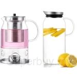 [Combo Set] SAMADOYO 1.3L Borosilicate Glass Juice Jug + 600ml Borosilicate Warm of Romance Pot - SS-071-SET