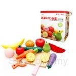 GeNz Kids Wooden Cut Fruits & Vegetable Set