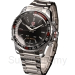 SHARK Sport Watch Analog Digital LED Date Alarm Silver Full Stainless Steel Band Black Dial Mens Quartz Wristwatch - SH003