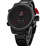 SHARK Sport Watch Brand Digital Dual Time Day LED Black Red Men Wristwatches Full Steel Strap Tag Relogio Military Clock - SH105