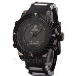SHARK Sport Watch 3D Logo Dual Movement Racing Waterproof Full Black Analog Silicone Strap Fashion Men Casual Wristwatch - SH165