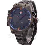 SHARK Sport Watch Dual Time Digital LED Date Day Analog Black Red Stainless Steel Strap Men Quartz Watch - SH197