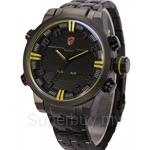 SHARK Sport Watch Sport Watch Multiple Time Zone Digital LED Relogio Auto Date Alarm Men Quartz Military Wristwatch - SH198