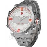 SHARK Sport Watches Men White Orange Multiple Time Zone LED Full Steel Strap Male Clock Military Quartz Wristwatch - SH200