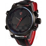 SHARK Sport Watch LED Black Red Stainless Steel Case Analog Digital Dual Movement Tag Timezone Leather Strap Men Clock - SH203