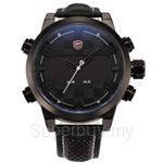 SHARK Sport Watch Digital Dual Movement Display Black White Stainless Steel Mens LED Leather Strap Tag Military Watches - SH205