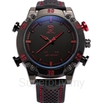 SHARK Sport Watch Quartz Analog LED Digital Date Day Black Red Dial Leather Band Alarm Military Men Watches - SH261