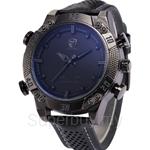 SHARK Shark Sport Watch Black Dual Time Zone LED Display Quartz Analog Digital Alarm Genuine Leather Band Men Wristwatch - SH262