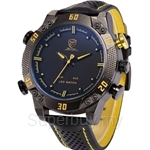SHARK Shark Sport Watch LED Men Digital Black Yellow Alarm Leather Band Military Relogio Masculino Quartz Wristwatch - SH263