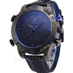 SHARK Sport Watch Blue LED Back Light Auto Date Display Leather Strap Quartz Digital Outdoor Men Military Watches - SH265