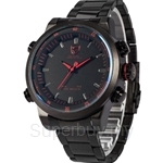 SHARK Sport Watch Stainless Steel Band Dual Movement Water Resistance LED Time Display Relogio Mens Quartz Watch - SH266