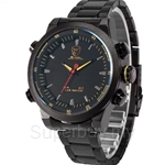 SHARK Sport Watch Dual Movement Yellow Dial LED Time Stainless Steel Band Relogio Mens Military Quartz Watch - SH267