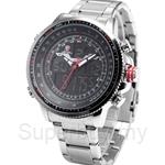 SHARK Sport Watch Brand Silver Black LCD Dual Time Date Alarm Stopwatch Steel Band Men Quartz Digital Watch - SH325