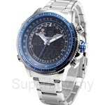 SHARK Sport Watch Blue LCD Analog Date Alarm Chronograph Stainless Steel Quartz Running Clock Men Digital Watch - SH326