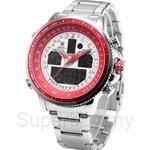 SHARK Sport Watch Luxury Brand LCD Digital Red White Dual Time Date Day Alarm Stopwatch Steel Strap Men Quartz Wristwatch - SH328