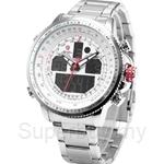 SHARK Sport Watch Waterproof Luxury LCD Analog Date Alarm Stainless Steel Quartz Running Clock Men Digital Watch - SH329