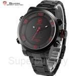 SHARK Sport Watch Red Black Dial Steel Band Dual Movement reloj de pulsera LED Display Mens Fashion Quartz Watch - SH360