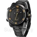 SHARK Sport Watch Stainless Steel Band Water Resistance Dual Movement LED Calendar Display Mens Quartz Watch - SH361