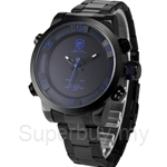 SHARK Sport Watch Dual Movement Stainless Steel Band LED Day Date Time Display Alarm Analog Fashion Quartz Watches - SH362