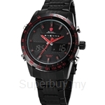 SHARK Sport Watch New Analog Digital LCD Stainless Steel Strap Black Red Alarm Outdoor Military Men Quartz Army Watch - SH389