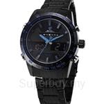 SHARK Sport Watch Men Analog Digital LCD Full Steel Strap Black Blue Alarm Outdoor Military Quartz Wrist Watches - SH391