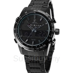 SHARK Sport Watch Brand Men Full Steel Strap Analog Digital LCD Black Grey Alarm Outdoor Military Quartz Watches - SH393