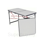 Kids Station Aluminium Foldable and Adjustable Table (White with Double Bar)
