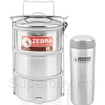 Zebra 12cm x 3 Food Carrier + 0.35L Vacuum Mug Set - ZR150X223X00