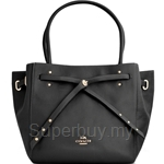 Coach Refined Pebble Leather Turn Lock Tie Small Tote (Black) - 35838