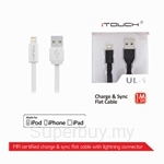 iTouch Charge and Sync 2.4A Current Supported Flat Cable - UL-1