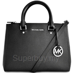 Michael Kors Sutton Leather Medium Satchel Black - 30S4GTVS6L