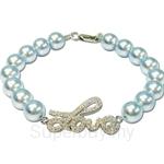 Kelvin Gems Lovely Blue Swarovski Pearl Bracelet Crafted By Angie