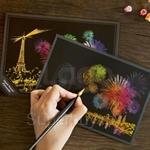 Lago Fireworks Paris Scratch Coloring Postcard (1 Card)