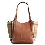 Burberry Small Canter in Leather and House Check Tan - 39824471
