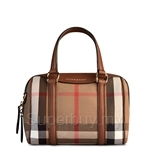 Burberry The Small Alchester in Housecheck and Leather Brown Ochre - 39808411