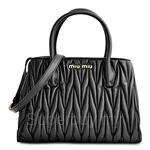 Miu Miu Matelasse Small Shopping Bag Black - 5BG069