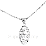 Poh Kong 9K White Gold Beautiful Floral Pendant - 642009