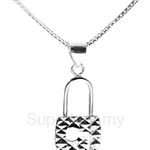 Poh Kong 9K White Gold Stylish Lock Pendant - 653161