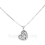 Poh Kong 9K White Gold Double-Layered Heartshape Pendant - 649796