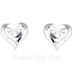 Poh Kong 9K White Gold Dainty Heartshape Earrings - 558209