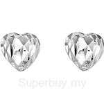 Poh Kong 9K White Gold Diamond-Cut Heartshape Earrings - 564376