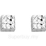 Poh Kong 9K White Gold Dainty Cube Earrings - 613516