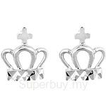 Poh Kong 9K White Gold Crown Earrings - 610753