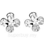 Poh Kong 9K White Gold 4-Leaves Earrings - 615011