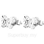 Poh Kong 9K White Gold Shimmering Butterfly Earrings - 650551