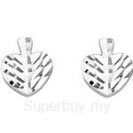 Poh Kong 9K White Gold Dainty Leaf Earrings - 579309