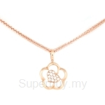 Poh Kong Floral Heart 18K Rose Gold Diamond Pendant - 437893